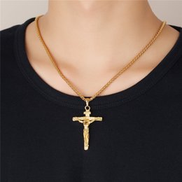Wholesale Brass Jesus - Fashion Men Women Cross Pendant Necklace Gold Silver Titanium steel Jesus Faith Jewelry Hip Pop Religious Necklace