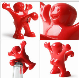Wholesale Novelty Tool Gifts - Beer Bottle Opener Happy Man plastic soda cap opener Perky Novelty Great Gift funny red kitchen opening tool