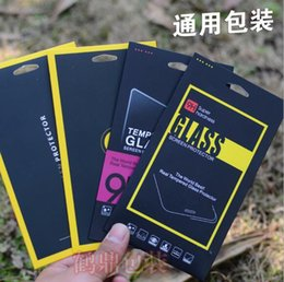Wholesale Apple Iphone Size - Large Size Black Retail Box 9H 2.5D Tempered Glass Screen Protector Packaging for iphone 7 6S Plus Samsung S7 S6 Edge OEM