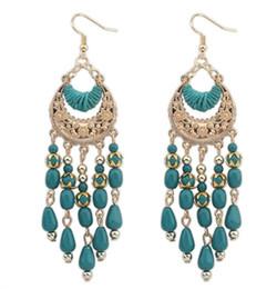 Wholesale Earrings Indian Tassel - New Alloy Ethnic Style Vintage Black Resin Long Bohemian Pierced Hollow Tassel Drop Dangle Earrings Ear Hook For Women Girl
