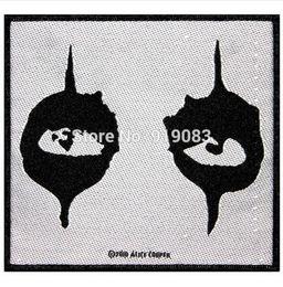"""Wholesale Metal Alice - 4"""" Alice Cooper Fan Black Eyes Shock patch Heavy Metal Music Rock Punk Rockabilly woven sew on iron on badge transfer"""