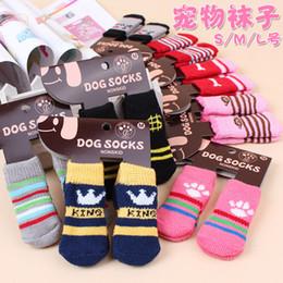 Wholesale Shoes For Weddings Wholesale - Pet dog cat warm socks for winter Cute Puppy Dogs Soft Cotton Anti-slip Knit Weave Sock Skid Bottom Dog cat Socks 4pcs set