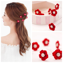 Wholesale Red Rhinestone Hair Pin - vintage red white flower crystal hair pins wedding hair accessories bridal party jewelry rhinestone hairpins 15pcs lot T392