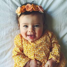 Wholesale Hair Garlands - Baby Headbands Rose Flowers Elastic Garlands Headbands Girls Infant Hairbands Kids Children Hair Accessories Beach Summer Head Bands KHA543
