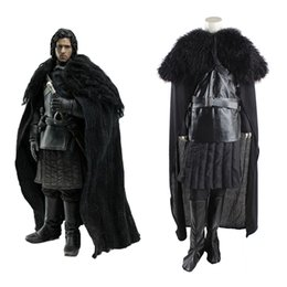 Wholesale Making Music Games - Free Shipping Adult Size Men Black Long Sleeve Jon Snow Outfit Superhero Costume Game of Thrones Cosplay Costumes For Halloween