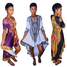Wholesale Asymmetrical Clothing - African clothes for women o-neck africa bazin dress Dashiki women dress 2017 african print Outwear Office Bazin Riche Party dress big size