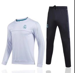 Wholesale Tracksuits Men Soccer - TOP THAI QUALITY new 17-18 Real Madrid men's soccer chandal white football tracksuit 2017-2018 adult training suit skinny pants Sportswear