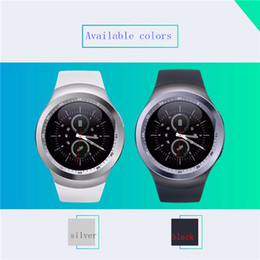 Wholesale Outdoor Watch Faces - Y1 smart watches 2017 Hot Sell Latest Round Touch Screen Round Face Smartwatch Phone with SIM Card Slot smart watch for IOS Android