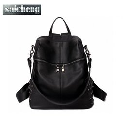 Wholesale Song Hye - Wholesale- 2016 New Korea style Women's Leather Rivet Backpacks Lady's Punk Sequins rucksack Female Doubles Bag Song Hye Kyo Same Backpack