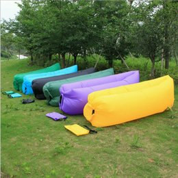 Wholesale Cars Bags Mummy - Fast Inflatable Air Sleeping Bag Waterproof Lazy Sofa Bed Festival Camping Hiking Travel Hangout Beach Bag Bed Camping Banana Couch