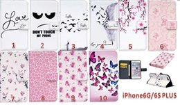 Wholesale Phone Money Wallet Case - Feather Butterfly Flower Slot Money Pocket Don't Touch My Phone Wallet Leather PU case for iphone 7 plus 6S 5S SE S5 S6