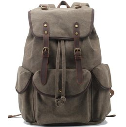 Wholesale Genuine leather canvas new foreign trade Canvas Backpack Amazon eBay casual backpack retro bag retro bag