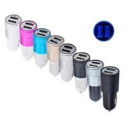 Wholesale Iphone Car Chargers Colors - 8 colors Metal Dual USB Port Car Charger 12 Volt  5V-1 ~ 2.1A Universal phone USB charger for iPhone 7 7s plus  Samsung Galaxy S8 Huawei p10