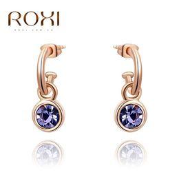 Wholesale Nickel Free Charms Wholesale - ROXI Brand 2016 New Women Dangle Earrings Nickel Free Artificial Jewellery Fashion Crystal Zircon Drop Earring Wedding Jewelry