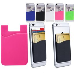 Wholesale Silicone Id Card Holder - Silicone Wallet Credit ID Card Cash Pocket Sticker Adhesive Holder Pouch Mobile Phone 3M Gadget For Cable eaphone ipad SCA348