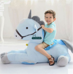 Wholesale Riding Horses Toys - Dorimytrader Hot Lovely Giant Plush Cartoon Kids Riding Horse Toy Sofa Stuffed Big Cute Animal Horse Doll Baby Present DY60196