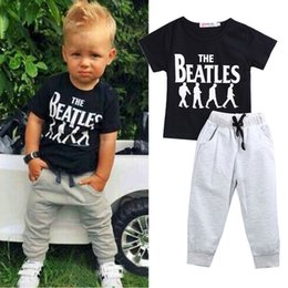 Wholesale Cool Boys Shorts - baby boys cool clothing set toddler tracksuit short sleeve tops grey pants cotton kids playsuit sport handmade outfit 2pcs set infant clothe