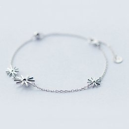 Wholesale Wholesale Snowflake Charms Free Shipping - 5pcs lot Beautiful Design 925 Sterling Silver Bracelet Snowflake Trendy Women Pure Silver Chain Statement Jewelry Wholesale Free Shipping