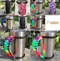 Wholesale Tumbler Cups Wholesale - New 7 colors Handmade cup Handle Paracord For 20 oz 30 oz Tumbler Cups Handle Handmade Handle DHL free
