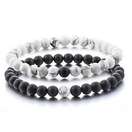 Wholesale Matte Agate - Distance Bracelets for Lovers-2pcs Black Matte Agate & White HowliteBeads By Long Way Fashion Jewelry Christmas Gifts