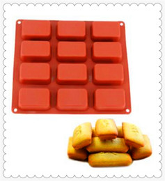 Wholesale Silicone Molds For Candles - 12 holes long boxes Cake Mold Flexible Silicone Soap Mold For Handmade Soap Candle Candy bakeware baking moulds kitchen tools ice molds