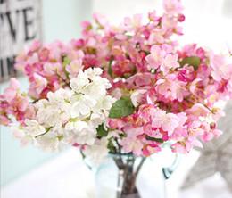 Wholesale Cherry Display - whlosesale 50PCS free shiping emulational Japanese Cherry Flower Garden Bonsai Trees Wedding Or Home Desk Or bottle decoration