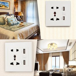 Wholesale Power Plate Charger - 2016 New Brand Dual USB Port Electric Wall Charger Dock Socket Power Outlet Panel Plate 2 colors Smart Power Plugs DHL Free