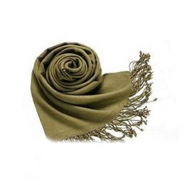 Wholesale trendy shawls - Wholesale- SAF-Winter Women Trendy Wrap Fashionable Scarf Wool Blends Soft Warm Long Large Shawl Tassels-Army Green