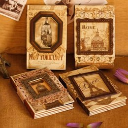 Wholesale Books Wholesale Suppliers - Wholesale- 1PC Lot NEW Vintage Memory frame Craft notebook hand cover kraft book DIY Journal Notepads agenda Zakka office school supplier
