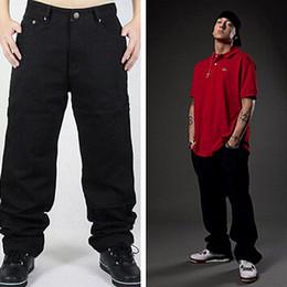 Wholesale Black Jeans Men Bootcut - Wholesale-Hip Hop Jeans Men 2016 New Fashion Black Jeans Baggy Loose Fit Hiphop Skateboarder Jeans Free Shipping