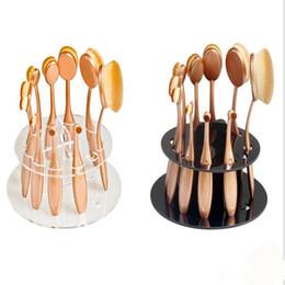 Wholesale Round Acrylic Brush - 10 holes removable acrylic drying rack type toothbrush make-up brush holder brush round display shelf
