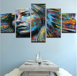 Wholesale Hair Posters - Home Decor HD Printed Canvas Pictures Poster 5 Pieces Colorful Hair Figure Woman Face Canvas Painting Living Room Wall Art