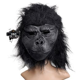 Wholesale Halloween Gorilla Mask - Wholesale- Full Face Cosplay Black Gorilla Mask Horror Masquerade Adult Ghost Mask Halloween Props Costumes Fancy Dress Carnival Parties