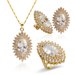 Wholesale Earring Setting Yellow Gold - Women Wedding Jewelry Set Yellow Gold Plated Gemstone Earrings Ring Size 8 and Pendant Necklace Cubic Zirconia Free Shipping HTZ1000001