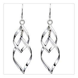 Wholesale Double Tassel Earrings - Fashion Jewelry Ladys 925 Sterling Silver Double Twist Wave Long Tassels Drop Dangle Earrings Women Gift Free Shipping