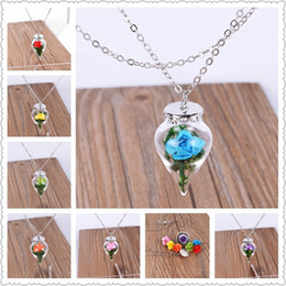 Wholesale Drop Glass Pendant Necklaces - 10PCS Lot Beauty and Beast 2017 Flower Necklace Glass Romantic Original Rose Water Drop Necklace Female