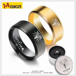 Wholesale Titanium Wolf Ring - Titanium Aluminium Carved 316L Wolf Game Ring for Men and Women