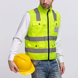 Wholesale Fluorescent Vests - Wholesale- Reflective Strips Vest Visibility Warning Safety Traffic Comfy Clothes Fluorescent Vest Security Equipment Night Work