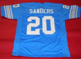 Wholesale Custom Rugby Shorts - Cheap retro #20 BARRY SANDERS CUSTOM JERSEY bule Mens Stitching Throwback Size S-5XL Football jerseys