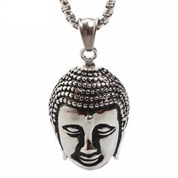 Wholesale Crystal Buddha Pendants - hot sale stainless steel jewelry fashion Non-allergenic anti rust titanium steel men Buddha Fathers religious men pendant necklace