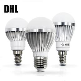 Wholesale E14 Lamp 7w - DHL LED lamp E27 E14 IC 3W 5W 7W 9W 12W 15W 85V-265V LED Lights Led Bulb light lighting high brighness Silver metal