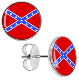 Wholesale Ear Plug Earrings - Wholesale Studs Earring 50pcs lot Surgical Steel Confederate Flag Ear Studs Cheater Fake Plugs Diameter 10mm*1.2mm ZCST-037