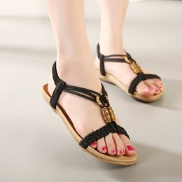Wholesale Elastic Strap Gladiator - Women Shoes Sandals Comfort Sandals Summer Flip Flops Fashion High Quality Flat Sandals Gladiator Sandalias Muje.LX-023
