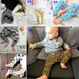 Wholesale Baby Leopard Harem - 6 Style kids INS Leopard pp pants baby toddlers 2017 New boys girls fox dinosaur geometric figure fruit trousers Leggings Kids Clothing