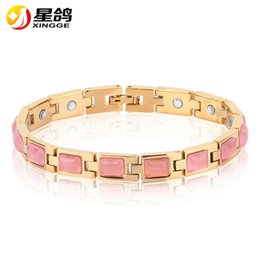 Wholesale 14k Bangles Gold Wholesale - High Quality Creative Exquisite Polishing Copper Gold Plated Health Care Magnetic Bracelets Germanium Imitation Gem Opal Bracelet & bangle