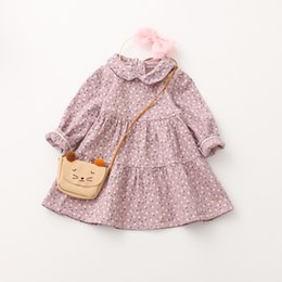 Wholesale Dress Colors Three - Children princess dress autumn girls cotton floral pleated dress kids long sleeve lapel dress girls three colors casual clothes C0985
