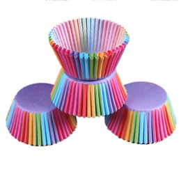 Wholesale Disposable Party Trays - 100Pcs Colorful Rainbow Paper Cake Cupcake Liner Baking Muffin Box Cup Case Party Tray Cake Mold Decorating Tools 0702055