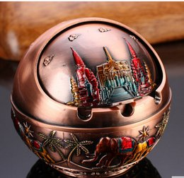 Wholesale Animal Ashtray - Multifunctional Creative Present Pure Metal Reilef Ashtray with Cap