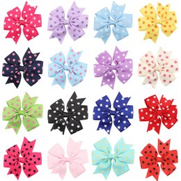 Wholesale Gril Baby - baby polka dot print hairbow with clip   gril bow   grosgrain ribbon bow