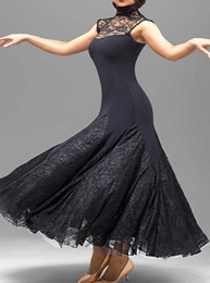 Wholesale Tango Competition Dress - custom black lace flamenco dress spanish dance costume ballroom dance competition dresses ballroom dance dresses waltz tango dancewear